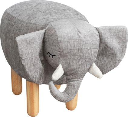 Kids Ellie the Elephant Gray Ottoman