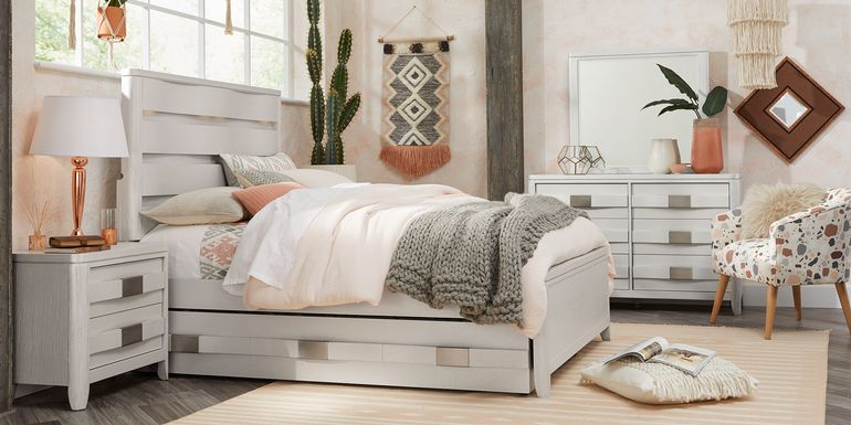 Teen Elliot Park Platinum 5 Pc Full Bedroom with Boho Blush & Terracotta Accessories