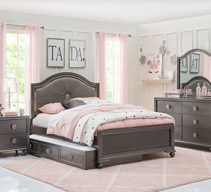 Kids Evangeline Charcoal 5 Pc Twin Lighted Upholstered Bedroom