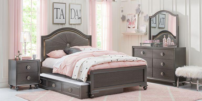 Kids Evangeline Charcoal 5 Pc Twin Lighted Upholstered Bedroom