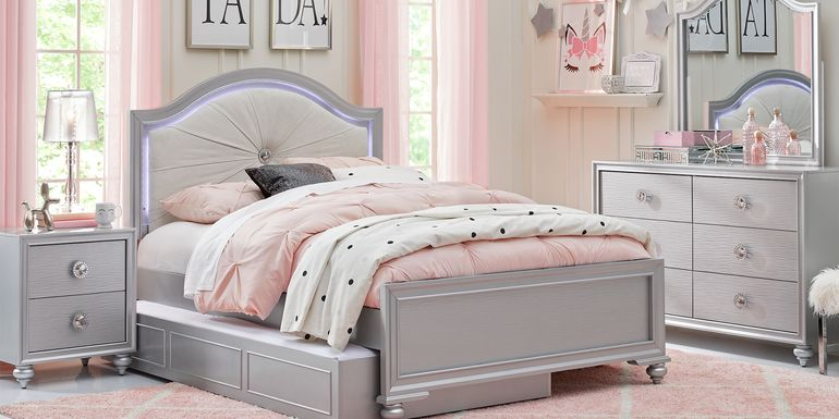 Kids Evangeline Silver 5 Pc Twin Lighted Upholstered Bedroom