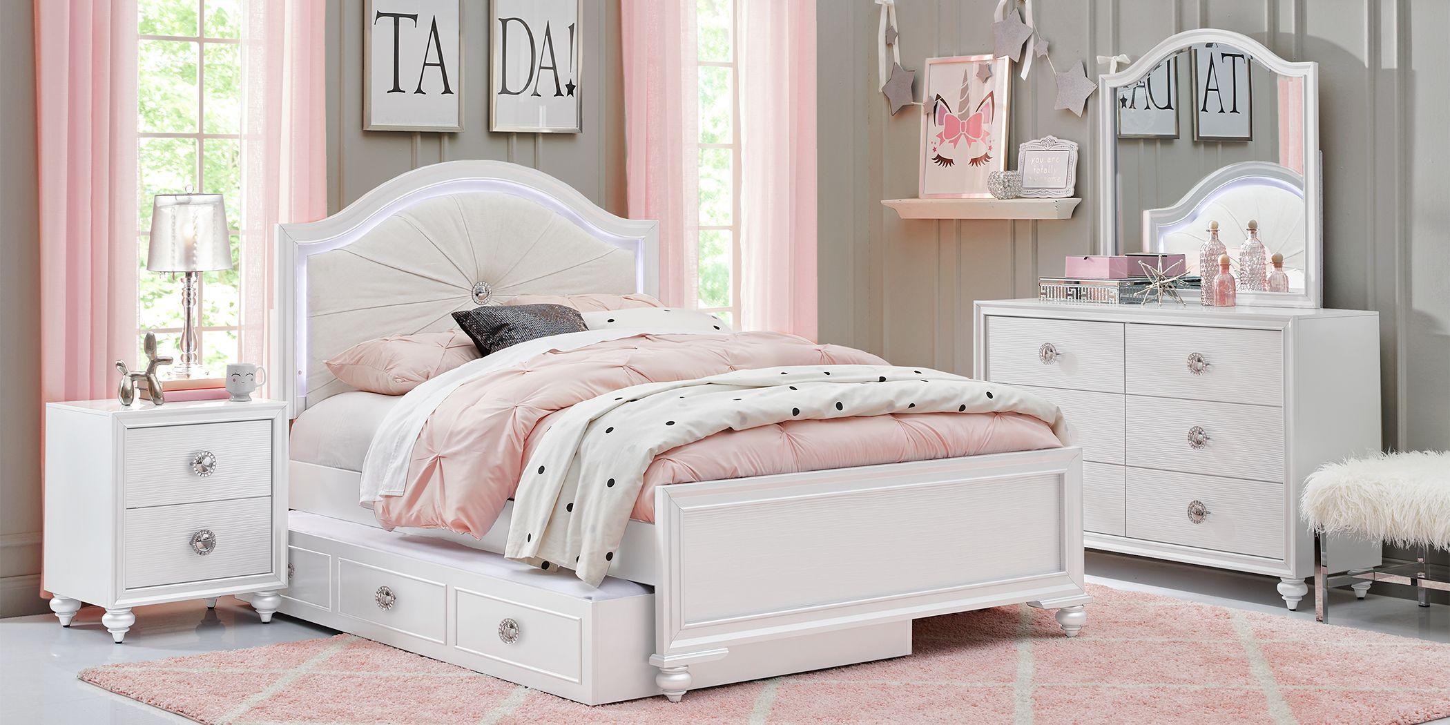 Kids Evangeline White 5 Pc Twin Lighted Upholstered Bedroom