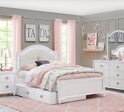 Kids Evangeline White 5 Pc Twin Lighted Upholstered Bedroom