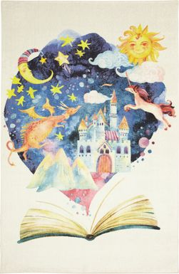 Kids Fairy Tale World White 3' x 5' Rug