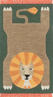 Kids Fierce Lion Green 5' x 7' Rug