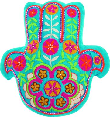 Kids Floral Hamsa Teal Accent Pillow