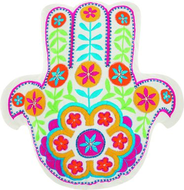 Kids Floral Hamsa White Accent Pillow