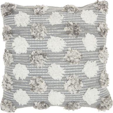 kids flowerful gray accent pillow