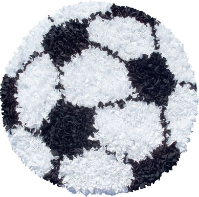 Kids Fluffy Soccer White 3' x 3' Rug
