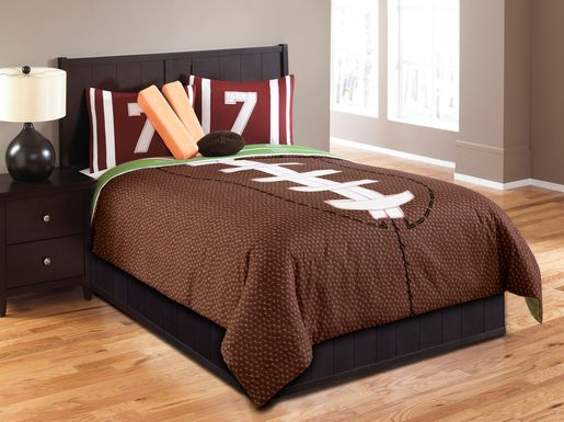 Kids Football Dreams Brown 5 Pc Twin Comforter Set