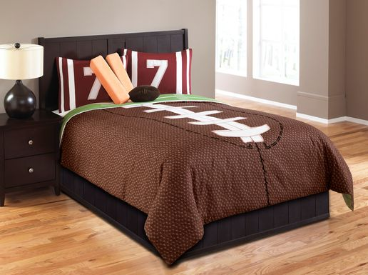 Kids Football Dreams Brown 5 Pc Twin Comforter Set