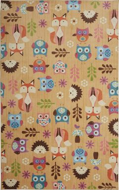Kids Forest Party Beige 5' x 8' Rug