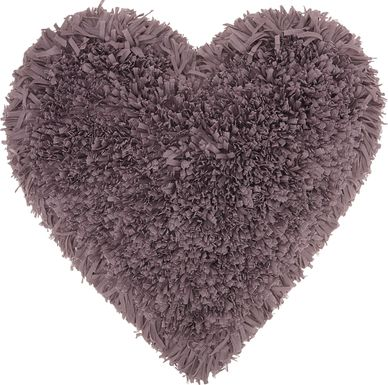 Kids Fuzzy Heart Lavender Accent Pillow