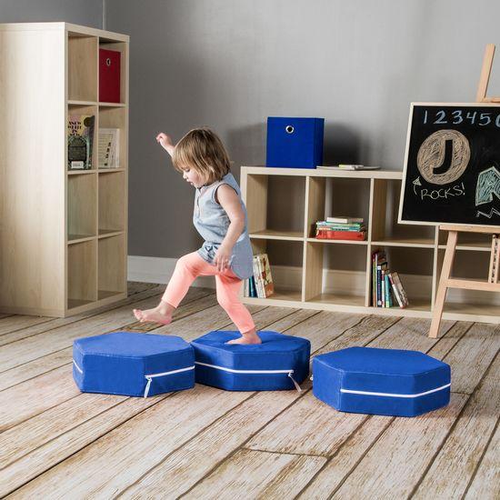 childrens blue ottoman set