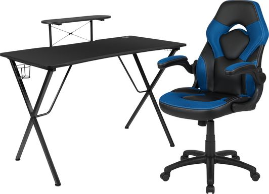 Kids Gerro Black/Blue Gaming Desk and Chair Set