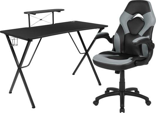 Kids Gerro Black/Gray Gaming Desk and Chair Set