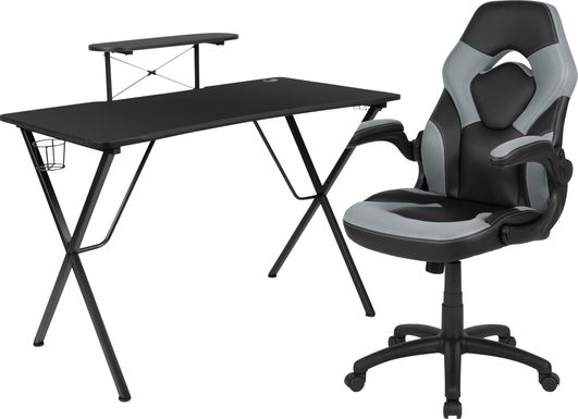 Kids Gerro Black/Gray Gaming Desk and Chair Set