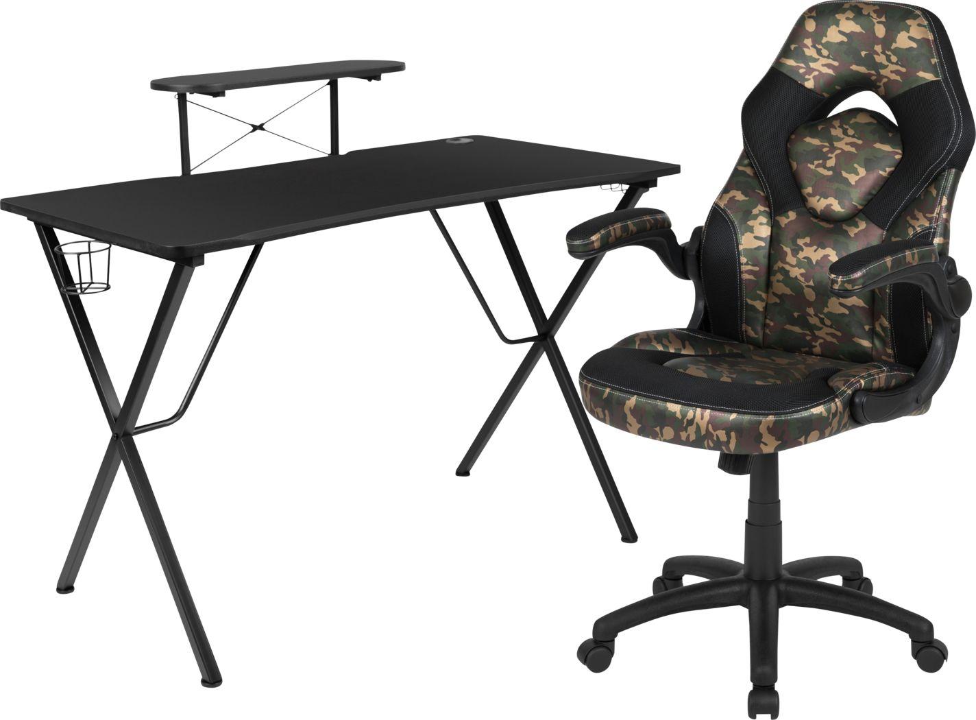 Kids Gerro Black/Green Gaming Desk and Chair Set