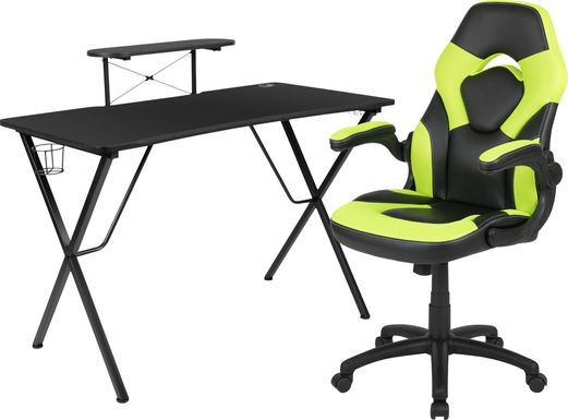 Kids Gerro Black/Lime Gaming Desk and Chair Set