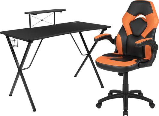 Kids Gerro Black/Orange Gaming Desk and Chair Set