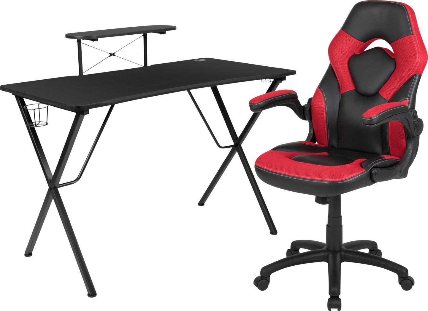 Kids Gerro Black/Red Gaming Desk and Chair Set