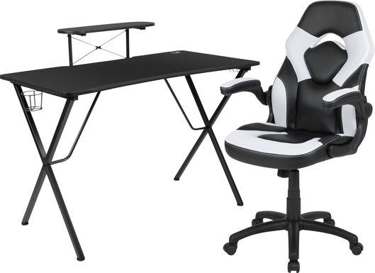 Kids Gerro Black/White Gaming Desk and Chair Set