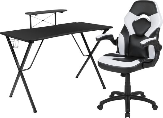 Kids Gerro Black/White Gaming Desk and Chair Set