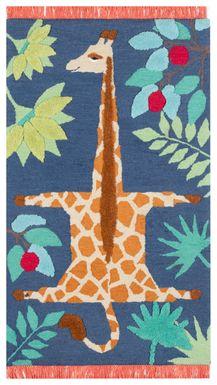 Kids Giggly Giraffe Navy 3' x 5' Rug