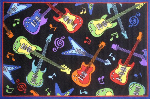Kids Guitar Show Black 4'2 x 6'5 Rug