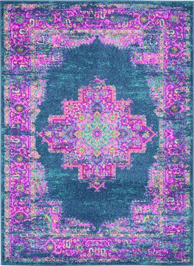 Kids Gypsy Spring Blue 5'3 x 7'3 Rug