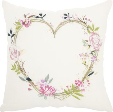 Kids Heart of Flowers White Accent Pillow