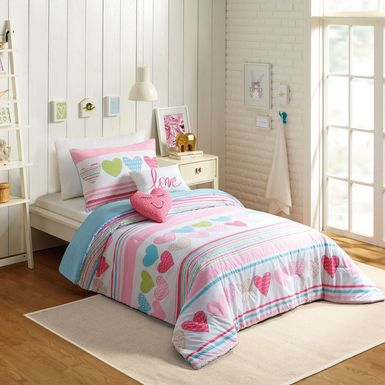 Kids Hearts Of Love Pink 4 Pc Twin Comforter Set