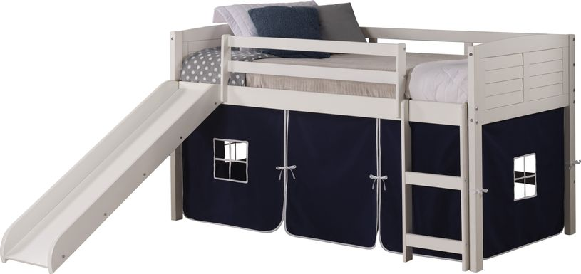 Kids Camp Hideaway White Twin Jr Loft Bed with Blue Tent and Slide