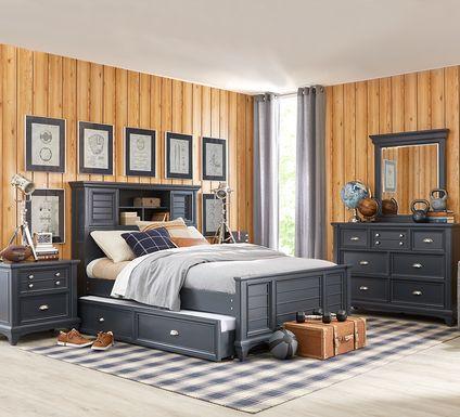 Kids Hilton Head Graphite 5 Pc Twin Bookcase Bedroom