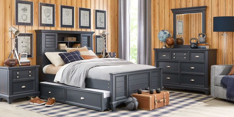 Kids Hilton Head Graphite 5 Pc Twin Bookcase Bedroom