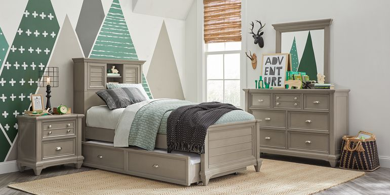 Kids Hilton Head Gray 5 Pc Twin Bookcase Bedroom