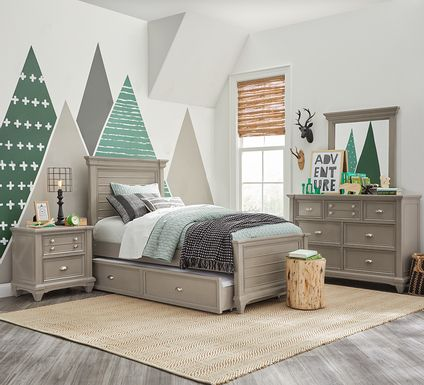 Kids Hilton Head Gray 5 Pc Twin Panel Bedroom