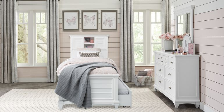 Kids Hilton Head White 5 Pc Twin Bookcase Bedroom