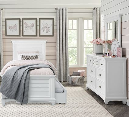 Kids Hilton Head White 5 Pc Twin Panel Bedroom
