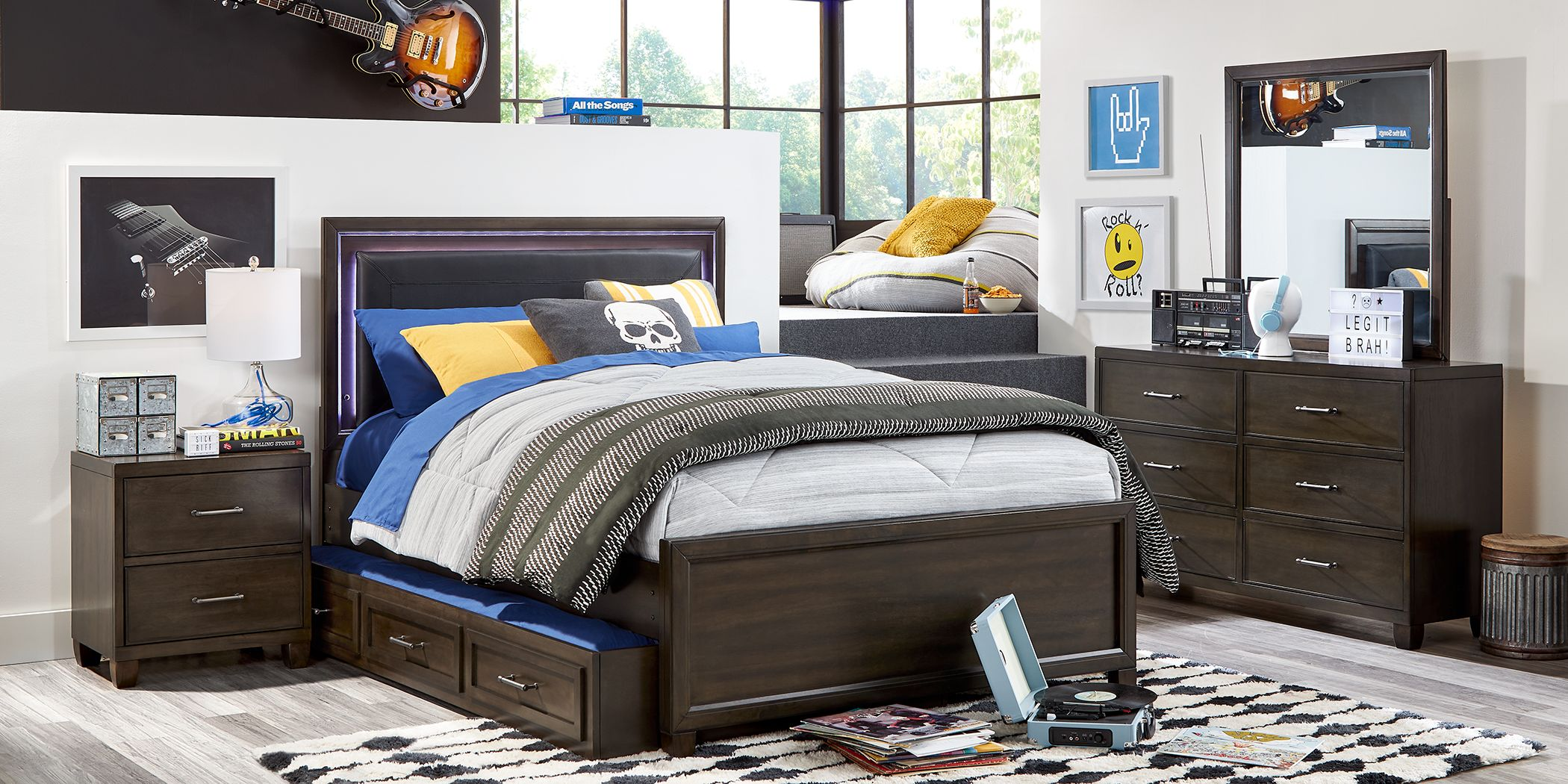 Kids Holden's Ridge Charcoal 5 Pc Twin Upholstered Bedroom