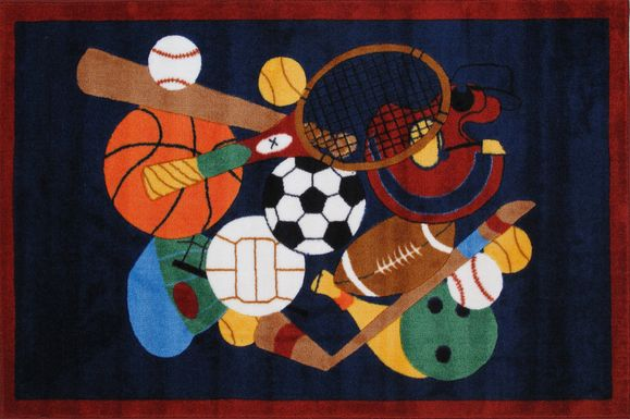 Kids Hooray for Sports Black 5' x 7'3 Rug