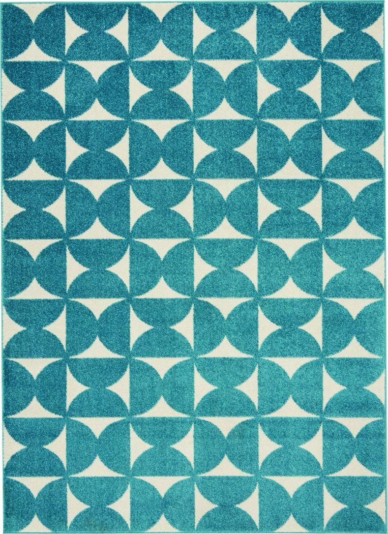 Kids Hourglass Stories Blue 4' x 6' Rug