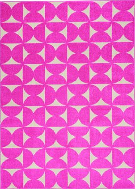 Kids Hourglass Stories Pink 5'3 x 7'3 Rug