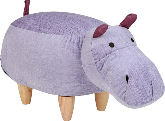 Kids Hugh the Hippo Purple Ottoman