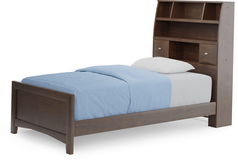 Kids Ivy League 2.0 Walnut 3 Pc Twin Bookcase Bed