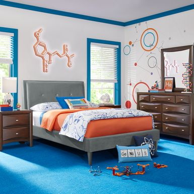 Kids Ivy League 2.0 Walnut 5 Pc Full Upholstered Bedroom