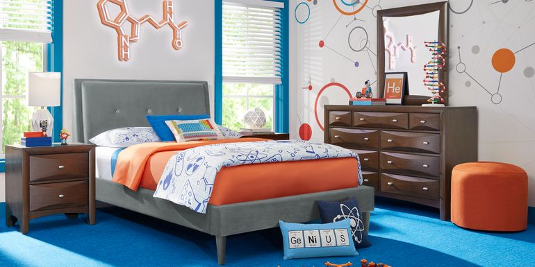 Kids Ivy League 2.0 Walnut 5 Pc Twin Upholstered Bedroom