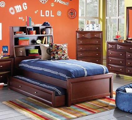 Kids Ivy League Cherry 5 Pc Twin Bookcase Bedroom