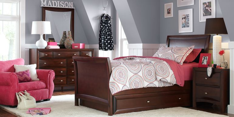 Kids Ivy League Cherry 5 Pc Twin Sleigh Bedroom