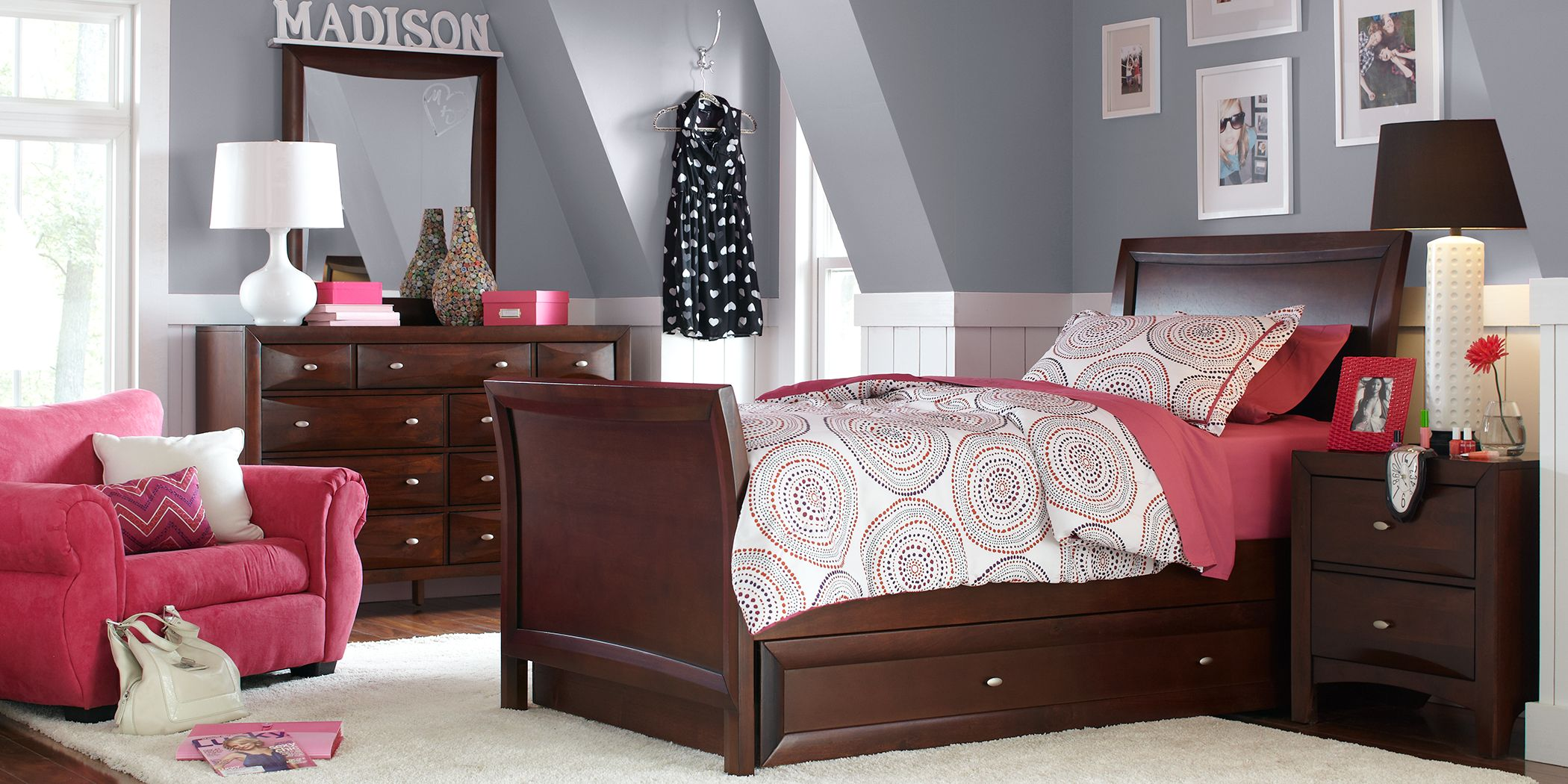 Kids Ivy League Cherry 6 Pc Full Sleigh Bedroom